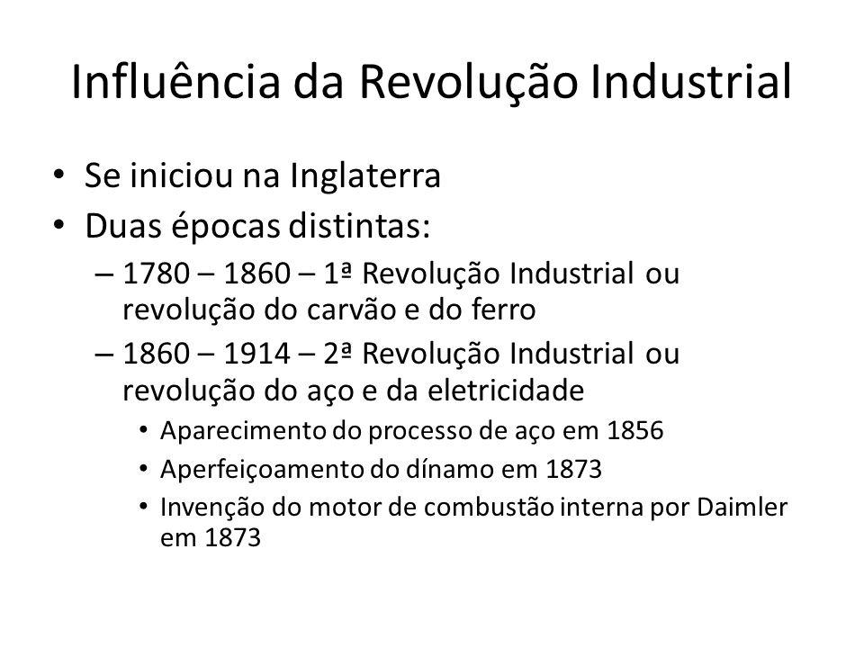 Influência da Revolução Industrial Se iniciou na Inglaterra Duas épocas distintas: – 1780 – 1860 – 1ª Revolução Industrial ou revolução do carvão e do