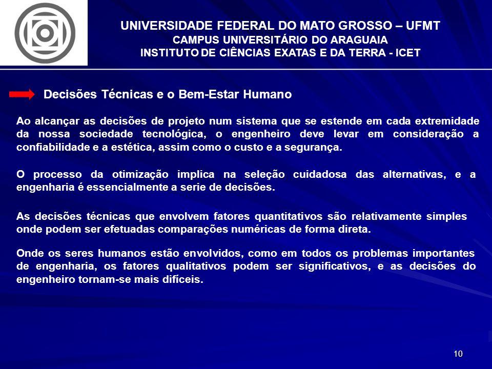 10 UNIVERSIDADE FEDERAL DO MATO GROSSO – UFMT CAMPUS UNIVERSITÁRIO DO ARAGUAIA INSTITUTO DE CIÊNCIAS EXATAS E DA TERRA - ICET Decisões Técnicas e o Be