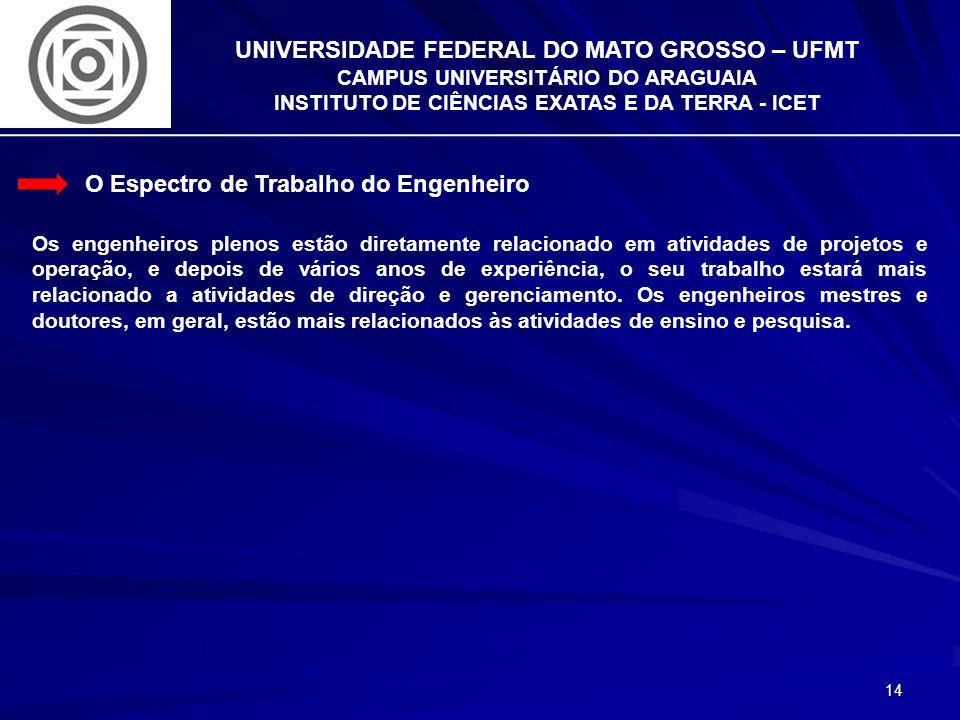 14 UNIVERSIDADE FEDERAL DO MATO GROSSO – UFMT CAMPUS UNIVERSITÁRIO DO ARAGUAIA INSTITUTO DE CIÊNCIAS EXATAS E DA TERRA - ICET O Espectro de Trabalho d
