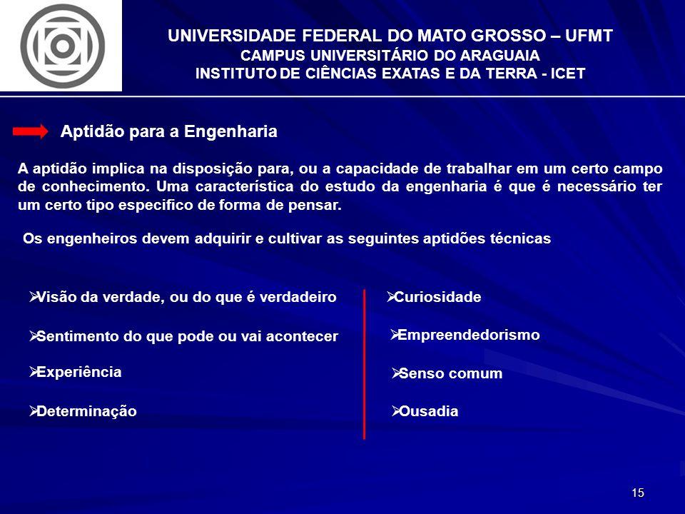 15 UNIVERSIDADE FEDERAL DO MATO GROSSO – UFMT CAMPUS UNIVERSITÁRIO DO ARAGUAIA INSTITUTO DE CIÊNCIAS EXATAS E DA TERRA - ICET Aptidão para a Engenhari