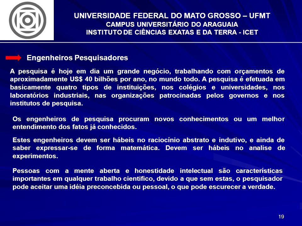 19 UNIVERSIDADE FEDERAL DO MATO GROSSO – UFMT CAMPUS UNIVERSITÁRIO DO ARAGUAIA INSTITUTO DE CIÊNCIAS EXATAS E DA TERRA - ICET Engenheiros Pesquisadore