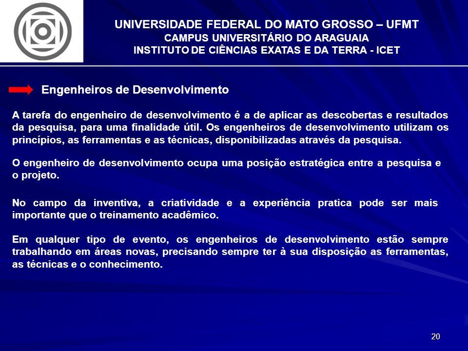 20 UNIVERSIDADE FEDERAL DO MATO GROSSO – UFMT CAMPUS UNIVERSITÁRIO DO ARAGUAIA INSTITUTO DE CIÊNCIAS EXATAS E DA TERRA - ICET Engenheiros de Desenvolv
