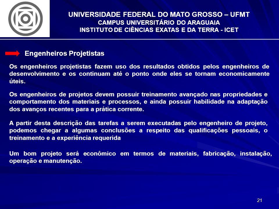 21 UNIVERSIDADE FEDERAL DO MATO GROSSO – UFMT CAMPUS UNIVERSITÁRIO DO ARAGUAIA INSTITUTO DE CIÊNCIAS EXATAS E DA TERRA - ICET Engenheiros Projetistas