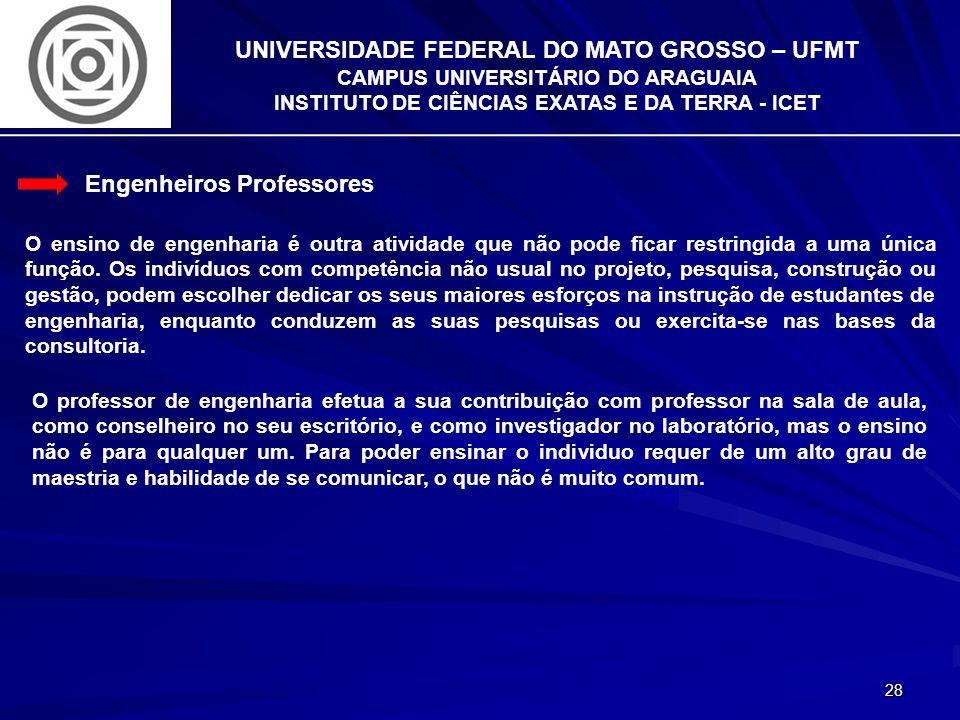 28 UNIVERSIDADE FEDERAL DO MATO GROSSO – UFMT CAMPUS UNIVERSITÁRIO DO ARAGUAIA INSTITUTO DE CIÊNCIAS EXATAS E DA TERRA - ICET Engenheiros Professores