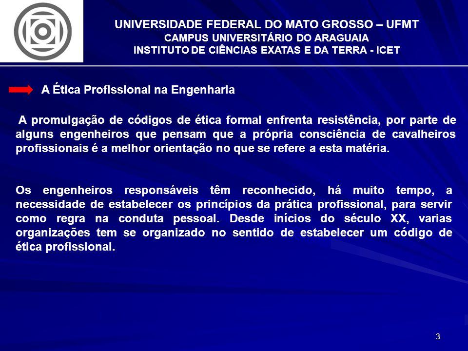 3 UNIVERSIDADE FEDERAL DO MATO GROSSO – UFMT CAMPUS UNIVERSITÁRIO DO ARAGUAIA INSTITUTO DE CIÊNCIAS EXATAS E DA TERRA - ICET A Ética Profissional na E