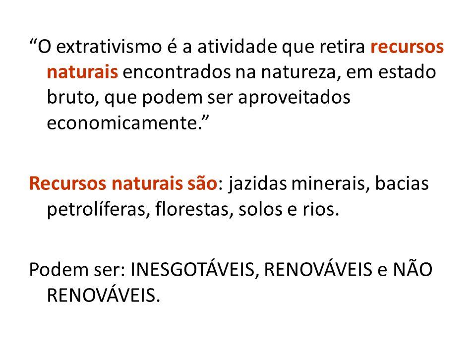 O extrativismo é a atividade que retira recursos naturais encontrados na natureza, em estado bruto, que podem ser aproveitados economicamente.