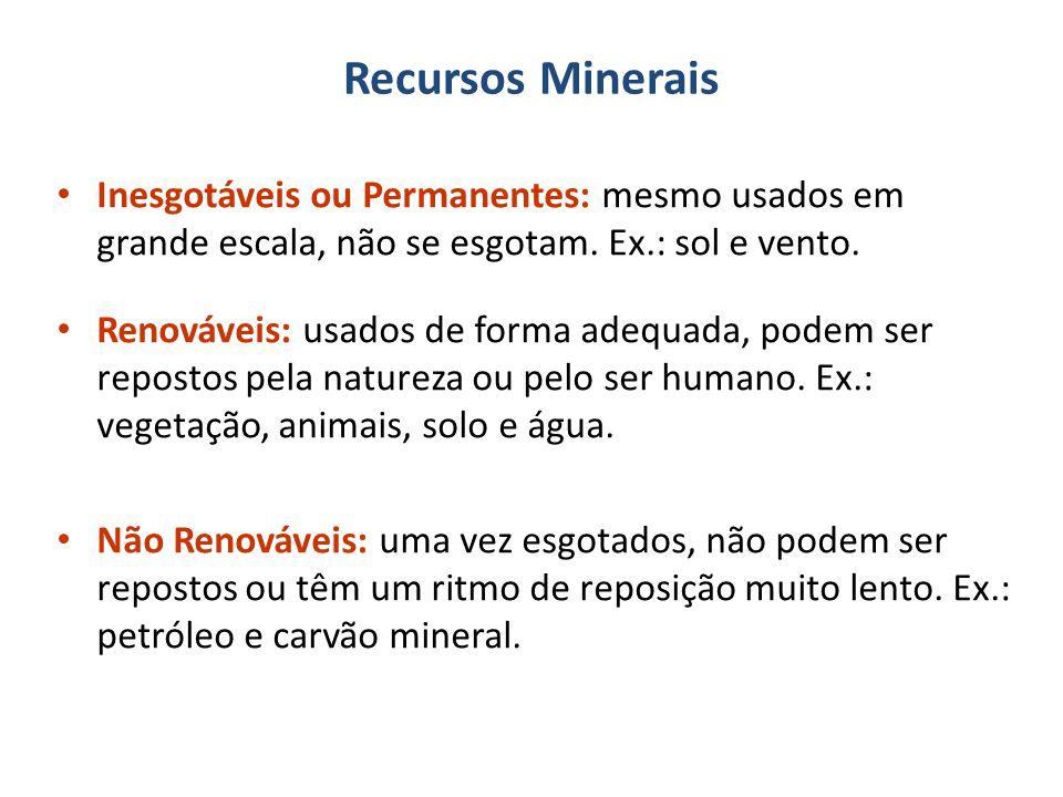 Recursos Minerais Inesgotáveis ou Permanentes: mesmo usados em grande escala, não se esgotam.