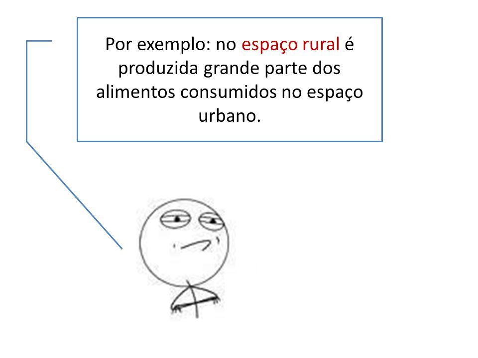 Por exemplo: no espaço rural é produzida grande parte dos alimentos consumidos no espaço urbano.