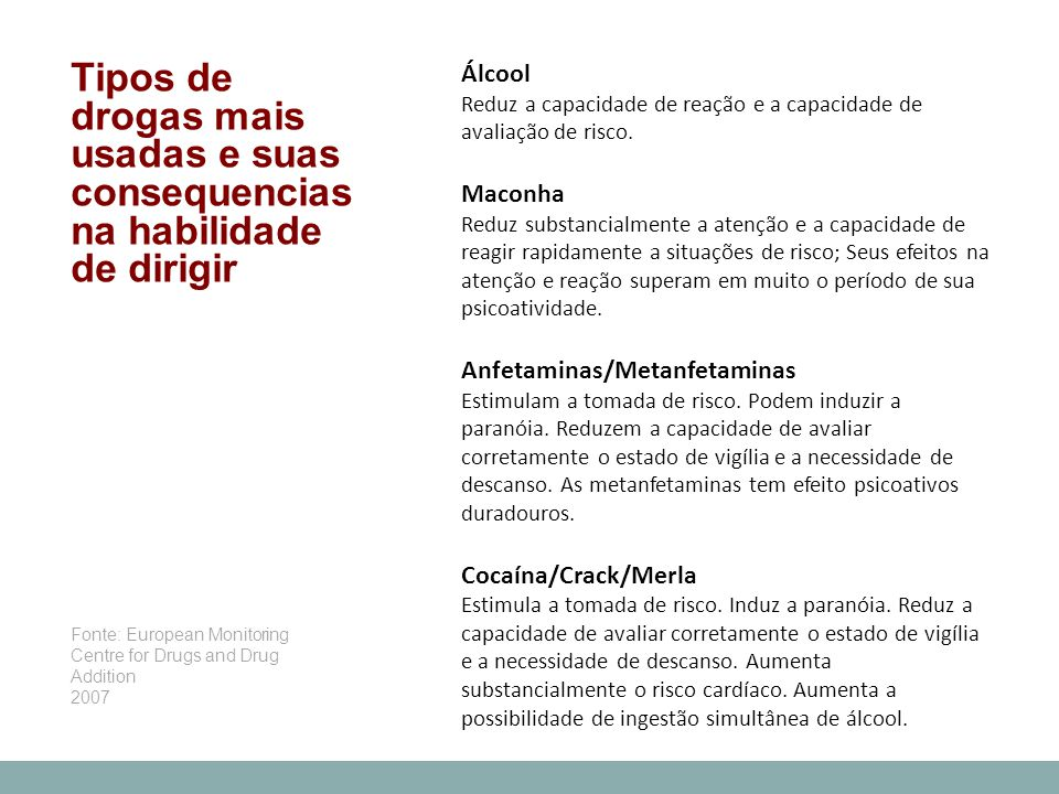 Tipos de drogas mais usadas e suas consequencias na habilidade de dirigir Álcool Reduz a capacidade de reação e a capacidade de avaliação de risco. Ma