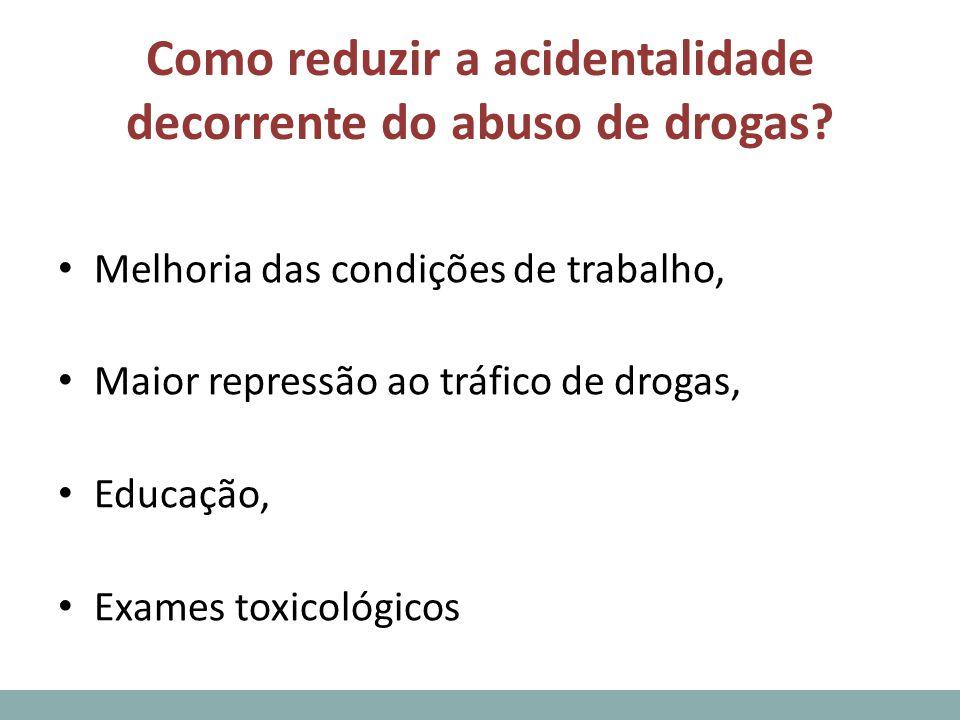 Como reduzir a acidentalidade decorrente do abuso de drogas? Melhoria das condições de trabalho, Maior repressão ao tráfico de drogas, Educação, Exame