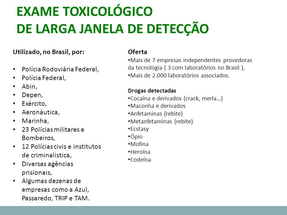 EXAME TOXICOLÓGICO DE LARGA JANELA DE DETECÇÃO Oferta Mais de 7 empresas independentes provedoras da tecnologia ( 3 com laboratórios no Brasil ), Mais