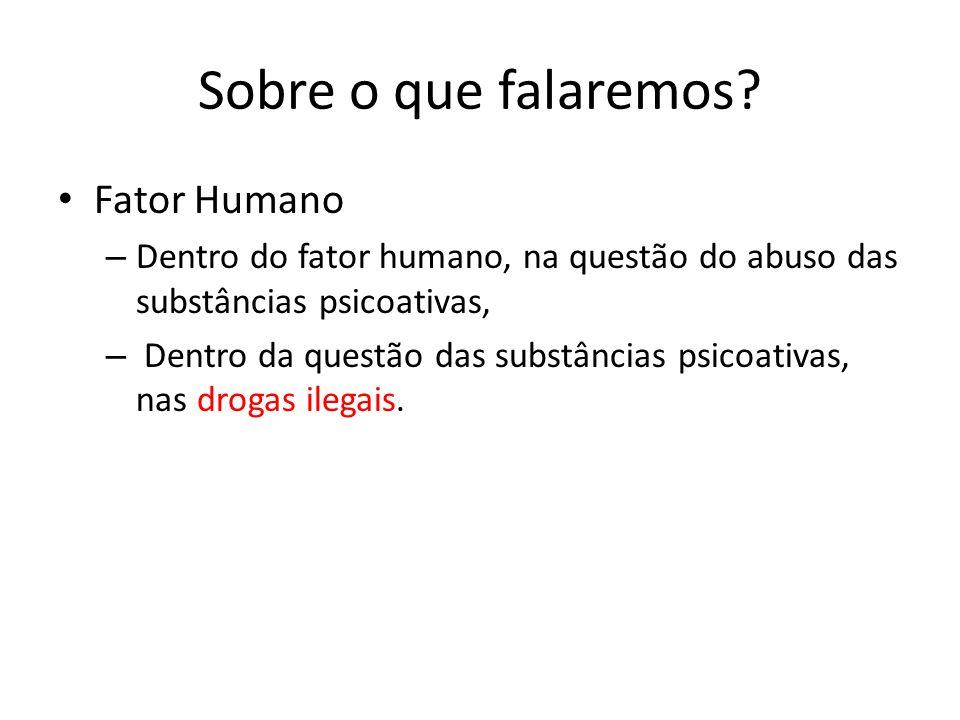 Sobre o que falaremos? Fator Humano – Dentro do fator humano, na questão do abuso das substâncias psicoativas, – Dentro da questão das substâncias psi