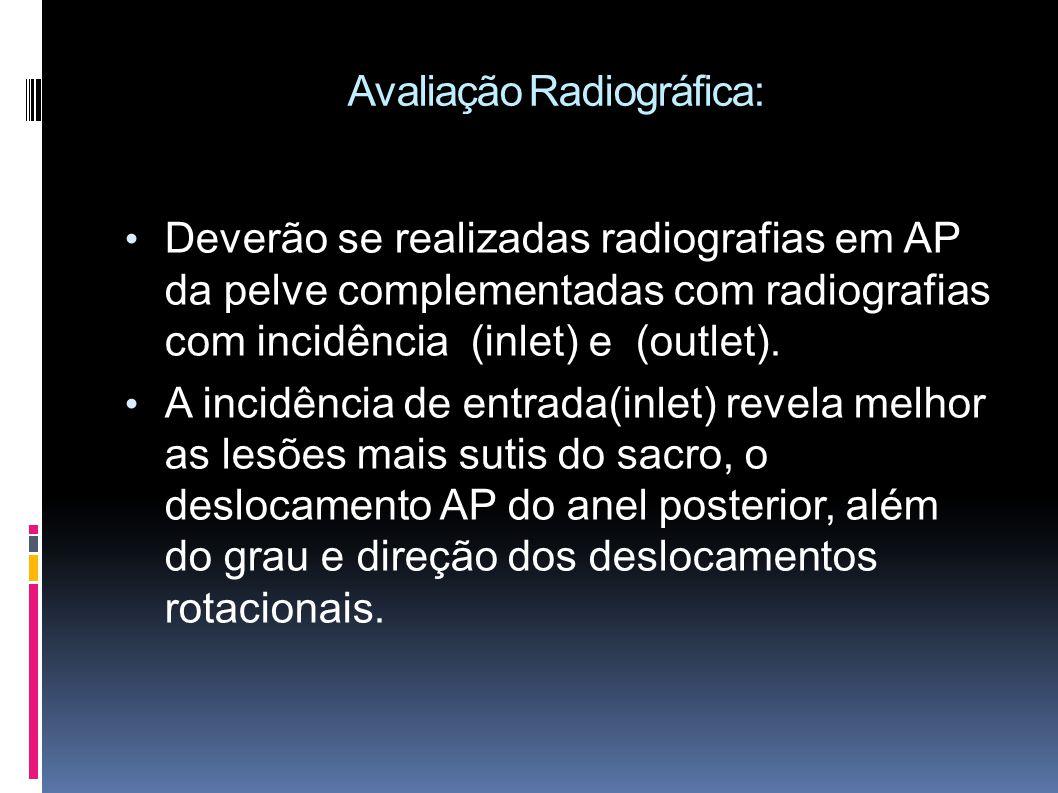 Avaliação Radiográfica: Deverão se realizadas radiografias em AP da pelve complementadas com radiografias com incidência (inlet) e (outlet).