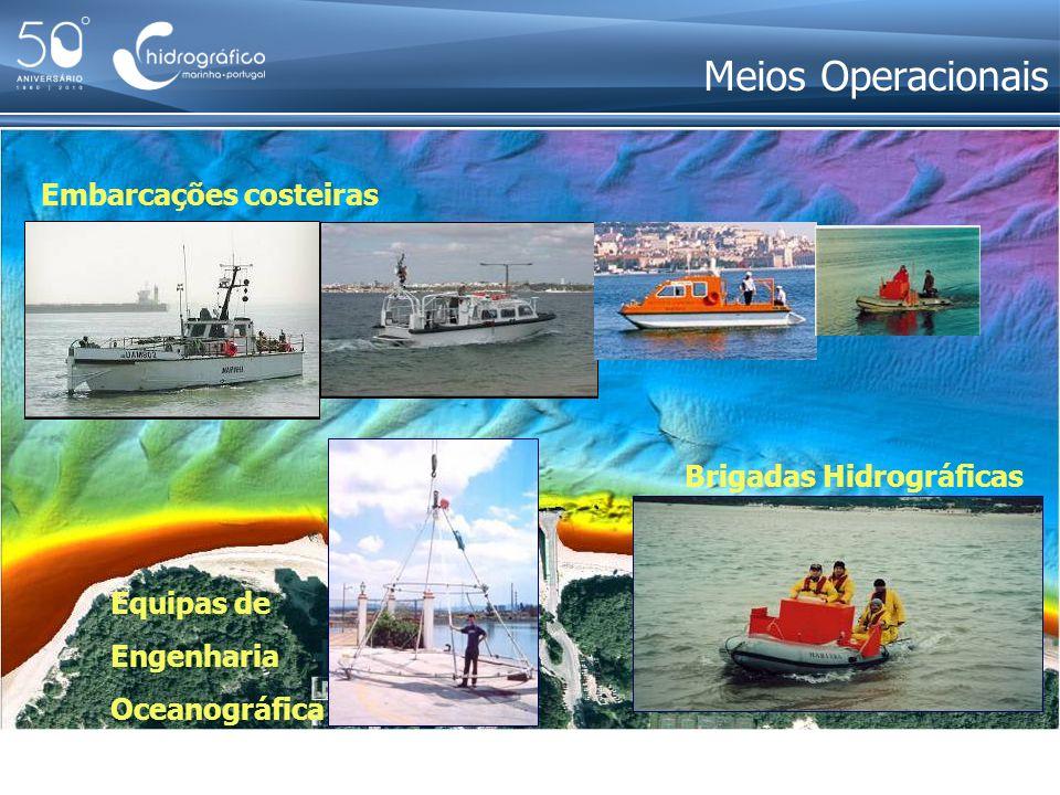 Meios Operacionais Embarcações costeiras Brigadas Hidrográficas Equipas de Engenharia Oceanográfica