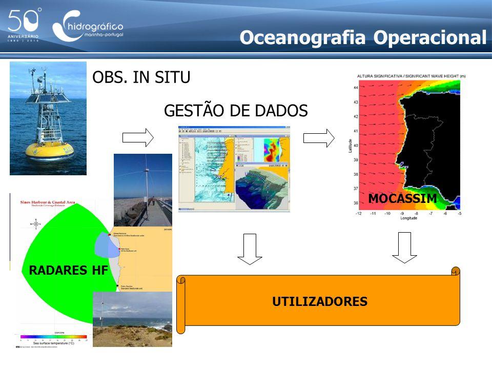 UTILIZADORES PREVISÃO GESTÃO DE DADOS OBS. IN SITU OBS. REMOTA Oceanografia Operacional MOCASSIM RADARES HF