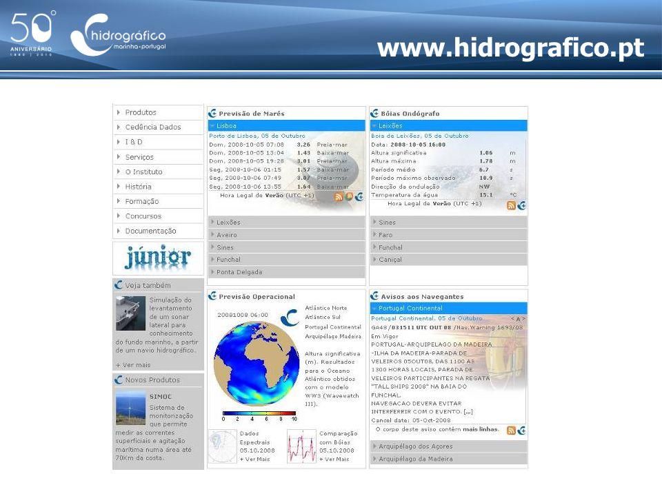 A Escola de Hidrografia e Oceanografia Única escola portuguesa de formação de hidrógrafos categoria A da Organização Hidrográfica Internacional Curso de Especialização em Hidrografia Curso Técnico de Hidrografia categoria B da Organização Hidrográfica Internacional
