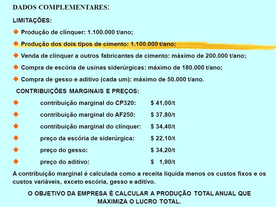 LIMITAÇÕES: u Produção de clínquer: 1.100.000 t/ano; u Produção dos dois tipos de cimento: 1.100.000 t/ano; u Venda de clínquer a outros fabricantes d