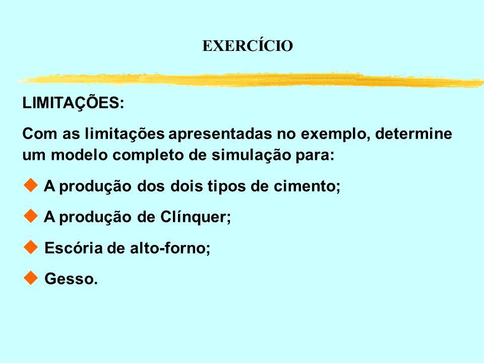 LIMITAÇÕES: Com as limitações apresentadas no exemplo, determine um modelo completo de simulação para: u A produção dos dois tipos de cimento; u A pro
