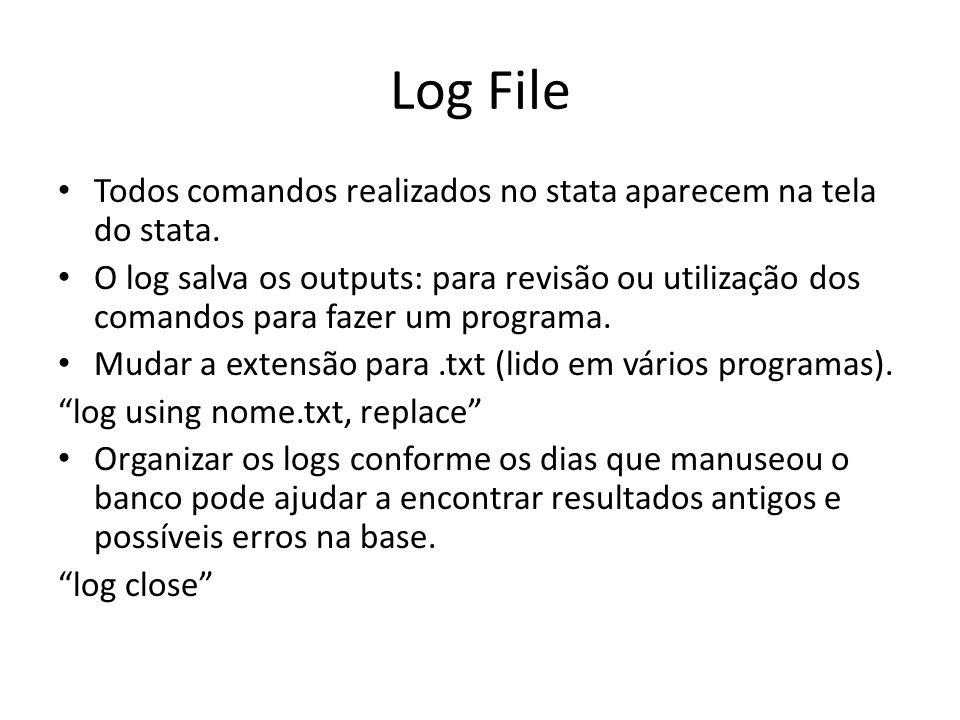 Log File Todos comandos realizados no stata aparecem na tela do stata. O log salva os outputs: para revisão ou utilização dos comandos para fazer um p