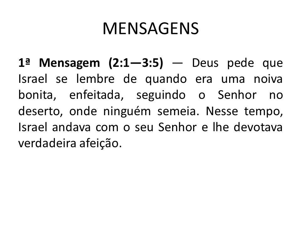 2ª Mensagem (3:6-30) Veio no tempo de Josias, rei de Judá.