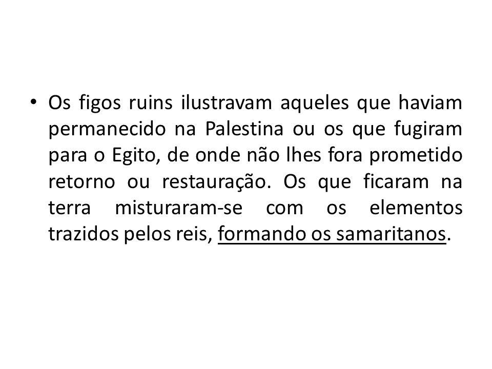 Os figos ruins ilustravam aqueles que haviam permanecido na Palestina ou os que fugiram para o Egito, de onde não lhes fora prometido retorno ou resta