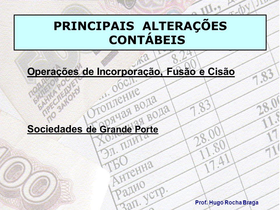 PRINCIPAIS ALTERAÇÕES CONTÁBEIS Prof. Hugo Rocha Braga Operações de Incorporação, Fusão e Cisão Sociedades de Grande Porte