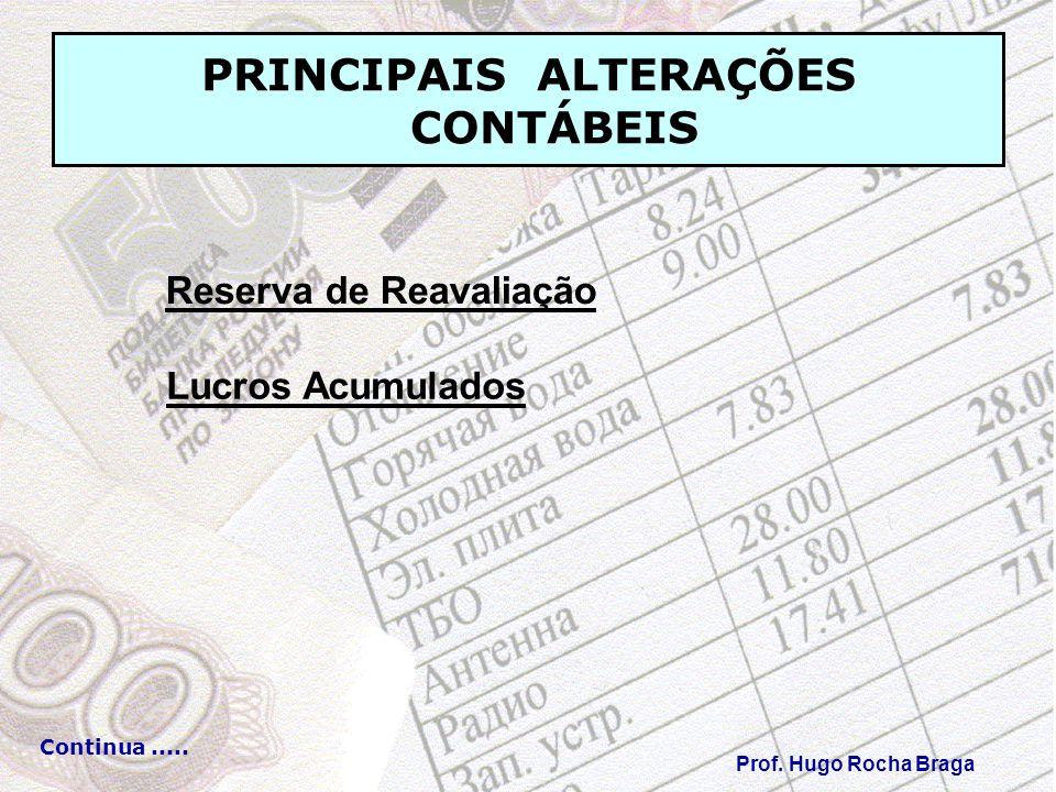 PRINCIPAIS ALTERAÇÕES CONTÁBEIS Prof. Hugo Rocha Braga Continua..... Reserva de Reavaliação Lucros Acumulados