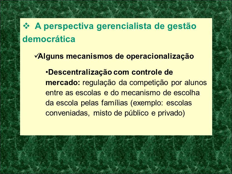 A perspectiva gerencialista de gestão democrática Alguns mecanismos de operacionalização Descentralização com controle de mercado: regulação da compet