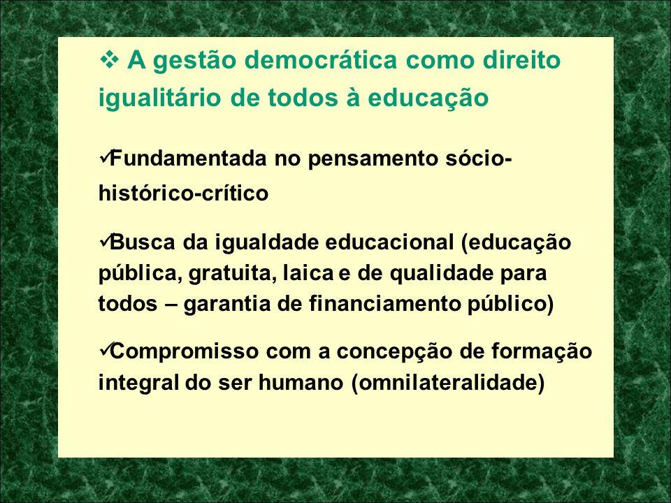 A gestão democrática como direito igualitário de todos à educação Fundamentada no pensamento sócio- histórico-crítico Busca da igualdade educacional (