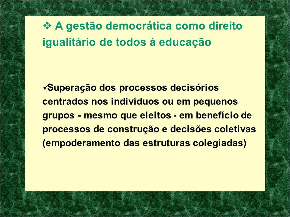 A gestão democrática como direito igualitário de todos à educação Superação dos processos decisórios centrados nos indivíduos ou em pequenos grupos -
