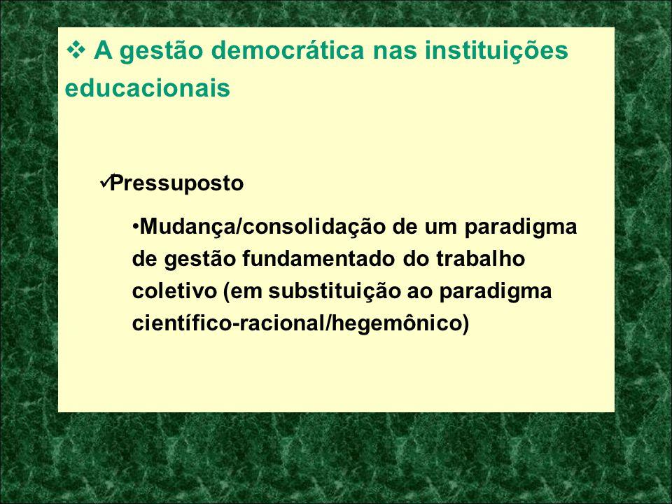 A gestão democrática nas instituições educacionais Pressuposto Mudança/consolidação de um paradigma de gestão fundamentado do trabalho coletivo (em su