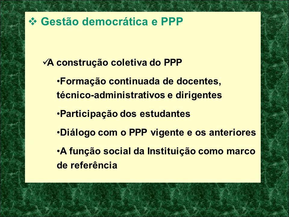 Gestão democrática e PPP A construção coletiva do PPP Formação continuada de docentes, técnico-administrativos e dirigentes Participação dos estudante