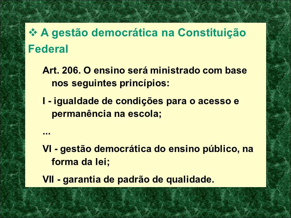 A gestão democrática na Constituição Federal Art. 206. O ensino será ministrado com base nos seguintes princípios: I - igualdade de condições para o a