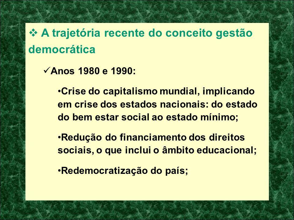 A trajetória recente do conceito gestão democrática Anos 1980 e 1990: Crise do capitalismo mundial, implicando em crise dos estados nacionais: do esta