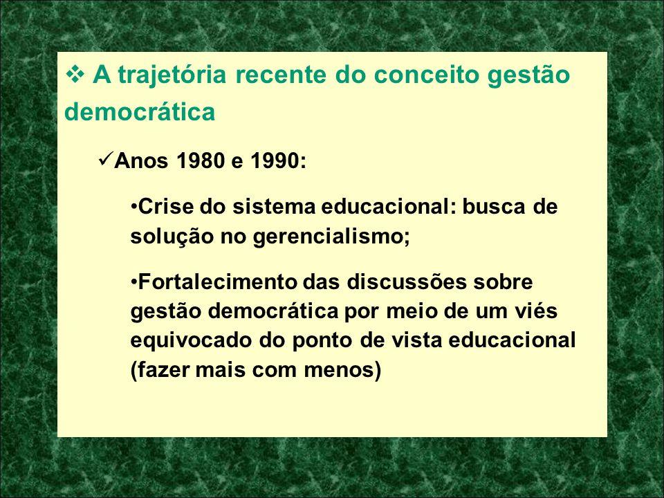 A trajetória recente do conceito gestão democrática Anos 1980 e 1990: Crise do sistema educacional: busca de solução no gerencialismo; Fortalecimento