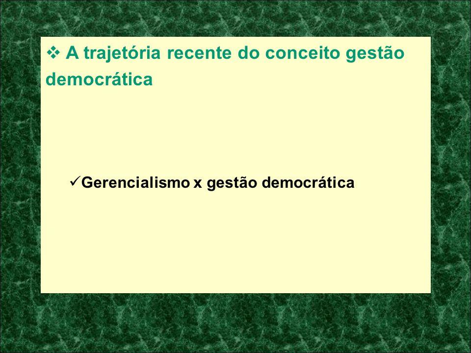 A trajetória recente do conceito gestão democrática Gerencialismo x gestão democrática