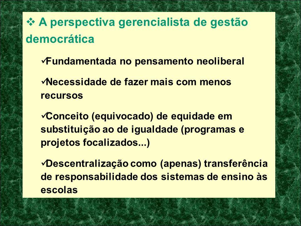 A perspectiva gerencialista de gestão democrática Fundamentada no pensamento neoliberal Necessidade de fazer mais com menos recursos Conceito (equivoc