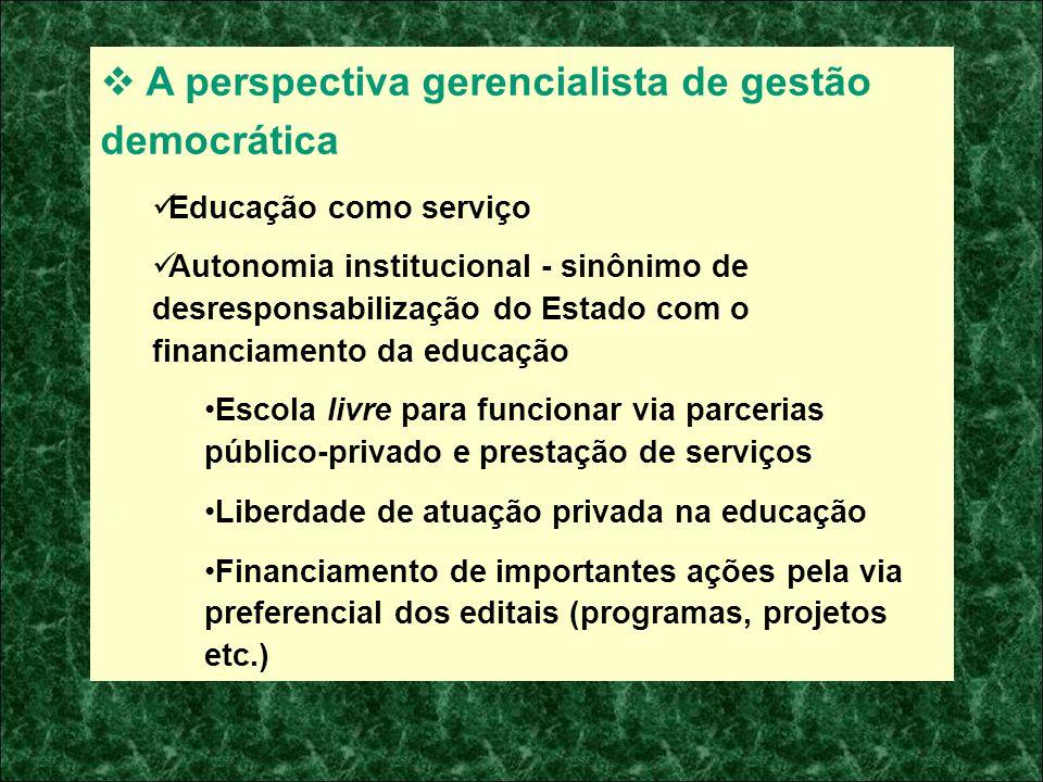A perspectiva gerencialista de gestão democrática Educação como serviço Autonomia institucional - sinônimo de desresponsabilização do Estado com o fin