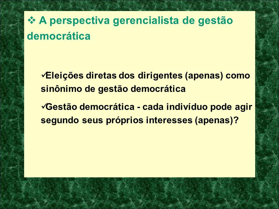 A perspectiva gerencialista de gestão democrática Eleições diretas dos dirigentes (apenas) como sinônimo de gestão democrática Gestão democrática - ca