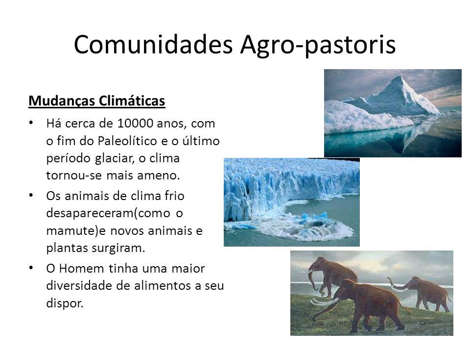 Comunidades Agro-pastoris Mudanças Climáticas Há cerca de 10000 anos, com o fim do Paleolítico e o último período glaciar, o clima tornou-se mais amen