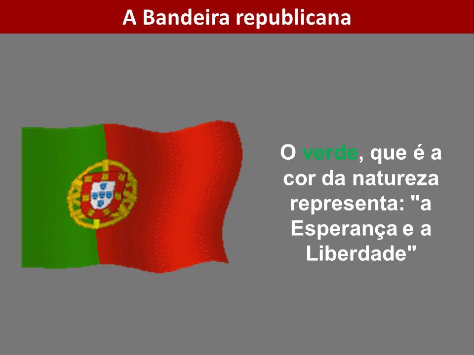 O verde, que é a cor da natureza representa: a Esperança e a Liberdade A Bandeira republicana