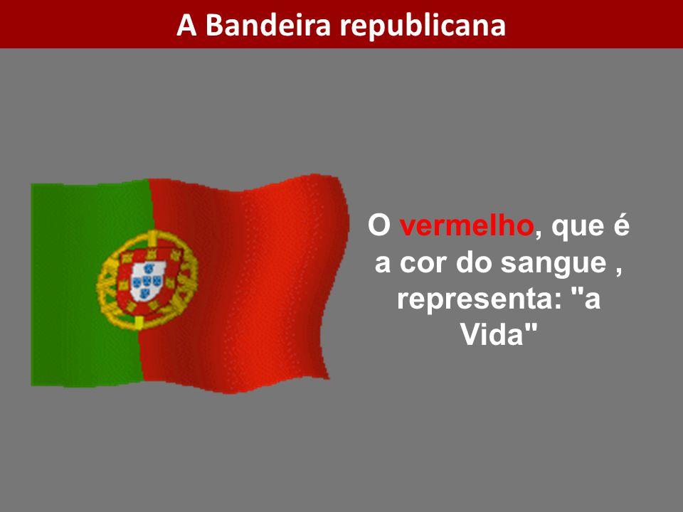 O vermelho, que é a cor do sangue, representa: a Vida A Bandeira republicana
