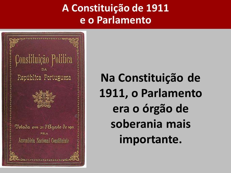 Na Constituição de 1911, o Parlamento era o órgão de soberania mais importante. A Constituição de 1911 e o Parlamento