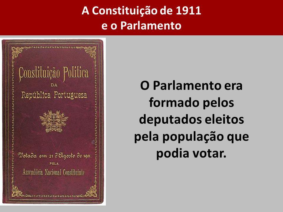 O Parlamento era formado pelos deputados eleitos pela população que podia votar. A Constituição de 1911 e o Parlamento