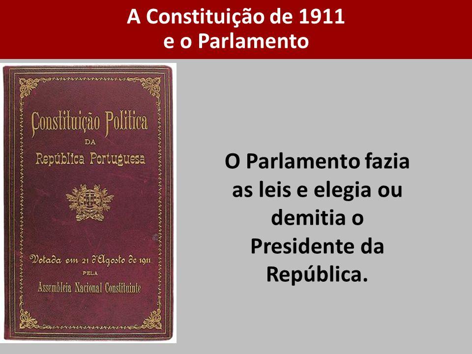 O Parlamento fazia as leis e elegia ou demitia o Presidente da República. A Constituição de 1911 e o Parlamento