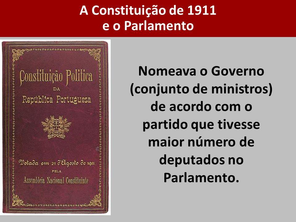 Nomeava o Governo (conjunto de ministros) de acordo com o partido que tivesse maior número de deputados no Parlamento. A Constituição de 1911 e o Parl