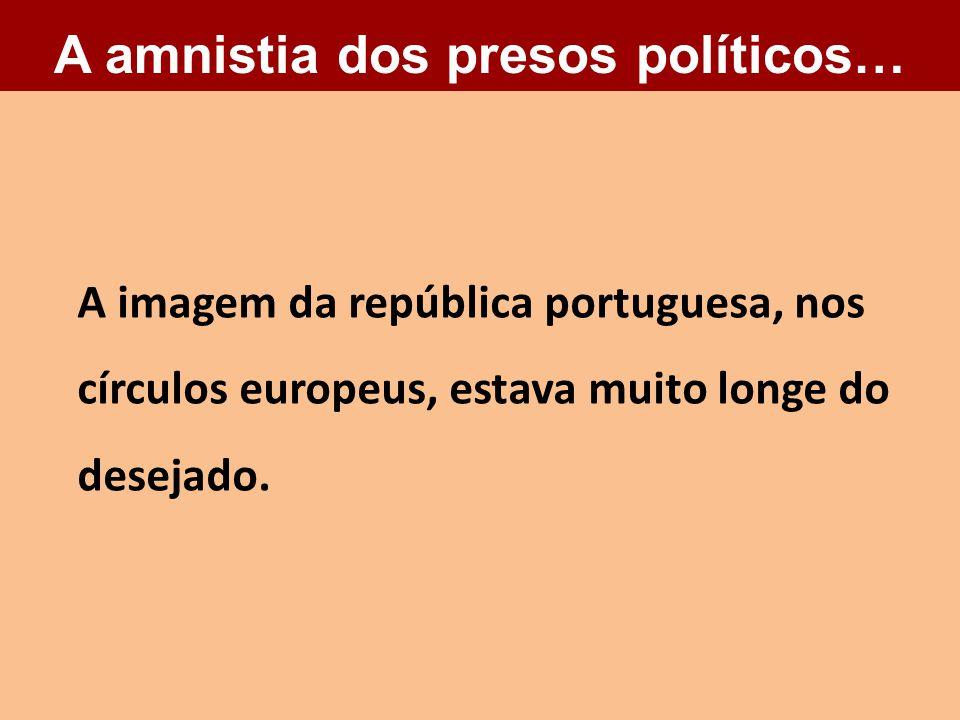 A imagem da república portuguesa, nos círculos europeus, estava muito longe do desejado. A amnistia dos presos políticos…
