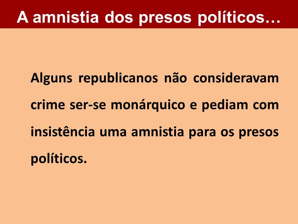 Alguns republicanos não consideravam crime ser-se monárquico e pediam com insistência uma amnistia para os presos políticos. A amnistia dos presos pol