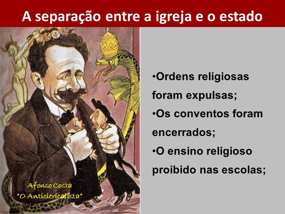 Afonso Costa O Anticlericalista Ordens religiosas foram expulsas; Os conventos foram encerrados; O ensino religioso proibido nas escolas; A separação entre a igreja e o estado