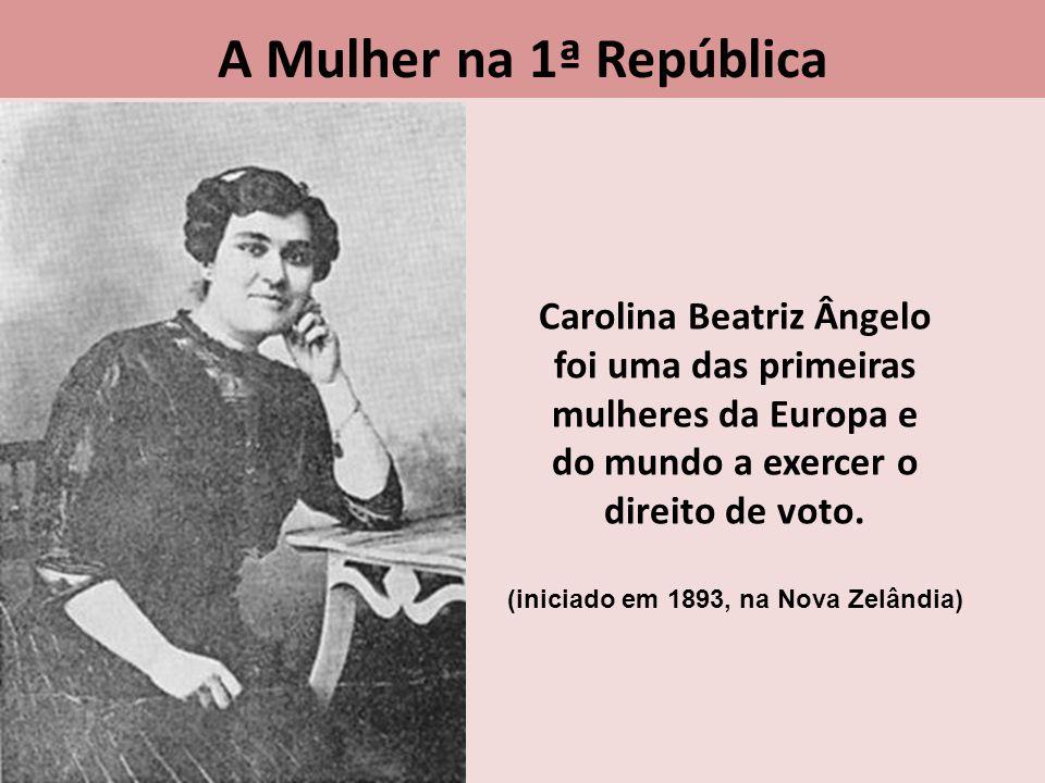 Carolina Beatriz Ângelo foi uma das primeiras mulheres da Europa e do mundo a exercer o direito de voto. (iniciado em 1893, na Nova Zelândia) A Mulher